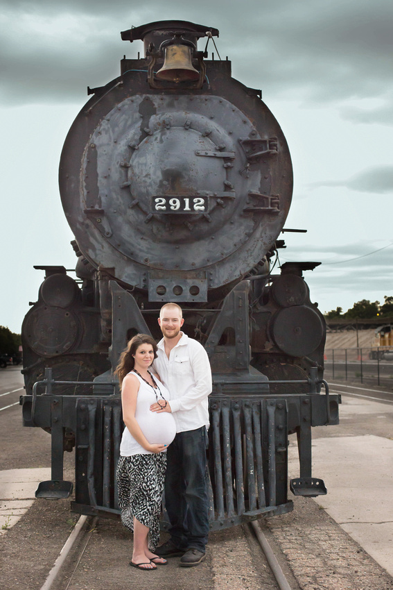 Pueblo Maternity Photographer | Jessica's train depot pregnancy photos